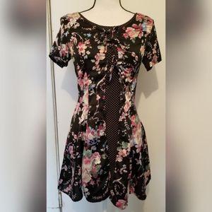 Nasty Gal Black Pink Floral Dress Fit & Flare